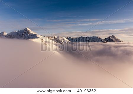 View of the peaks during the inversion. Tatry