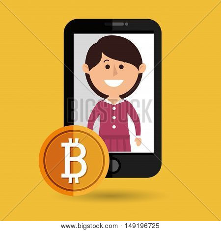 woman smartphone bit coin vector illustration eps 10