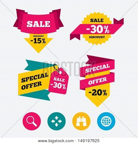 Magnifier glass and globe search icons. Fullscreen arrows and binocular search sign symbols. Web stickers, banners and labels. Sale discount tags. Special offer signs. Vector