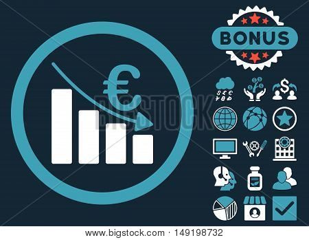 Euro Recession icon with bonus images. Vector illustration style is flat iconic bicolor symbols blue and white colors dark blue background.