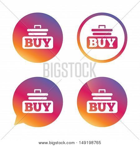 Buy sign icon. Online buying cart button. Gradient buttons with flat icon. Speech bubble sign. Vector