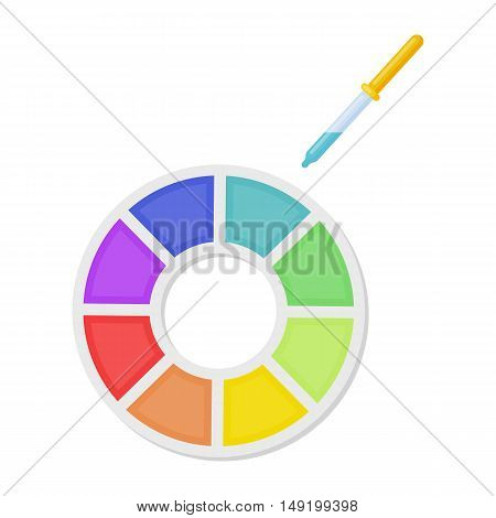 Color wheel icon in cartoon style isolated on white background. Typography symbol vector illustration.