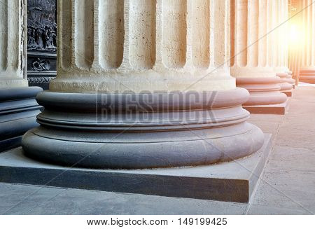Architecture view - colonnade of the Kazan Cathedral in St Petersburg Russia. Architecture view. Soft filter applied. Architecture background. Architecture of St Petersburg Russia