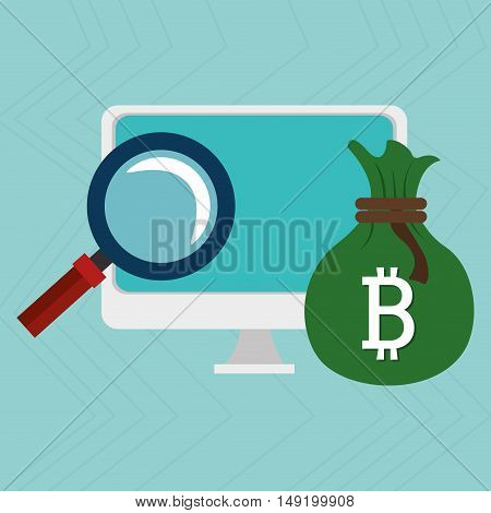 laptop search bit coin vector illustration eps 10
