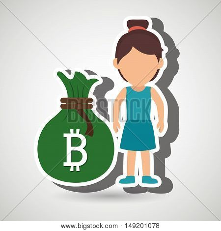 person woman bit coin web vector illustration eps 10