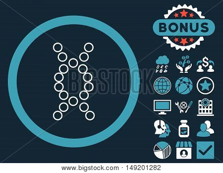 Genome icon with bonus design elements. Vector illustration style is flat iconic bicolor symbols blue and white colors dark blue background.