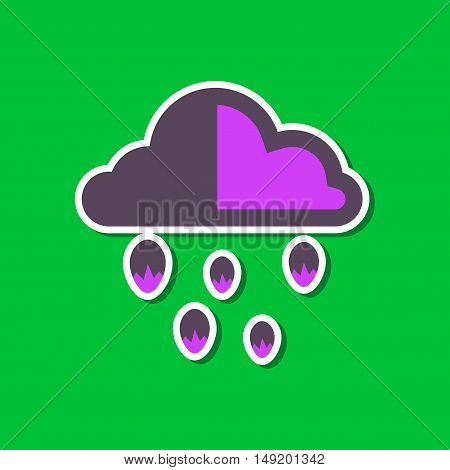 paper sticker on stylish background cloud hail