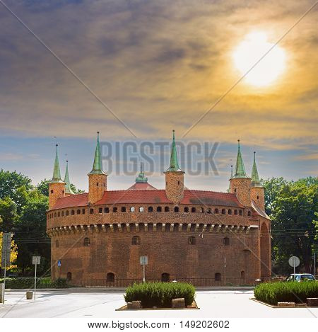 Barbican in Krakow in cloudy sunny day Poland