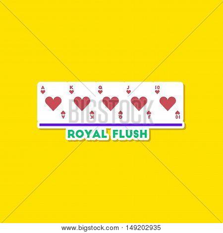 paper sticker on stylish background of poker royal flush