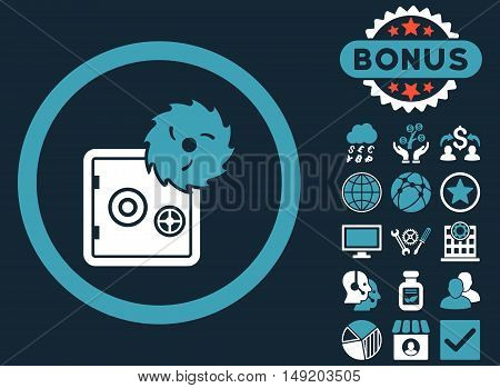 Hacking Theft icon with bonus images. Vector illustration style is flat iconic bicolor symbols blue and white colors dark blue background.