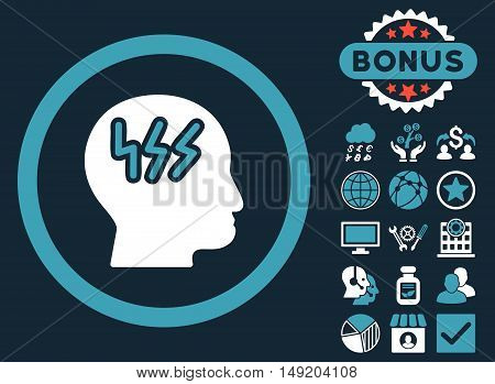 Headache icon with bonus elements. Vector illustration style is flat iconic bicolor symbols blue and white colors dark blue background.