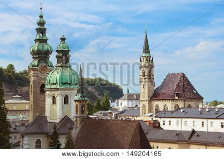 View on domes of Salzburg Cathedral (Salzburger Dom) Austria