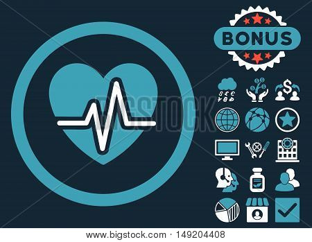 Heart Diagram icon with bonus pictogram. Vector illustration style is flat iconic bicolor symbols blue and white colors dark blue background.