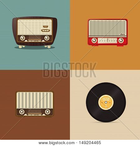 flat design retro radio with vinyl record image vector illustration