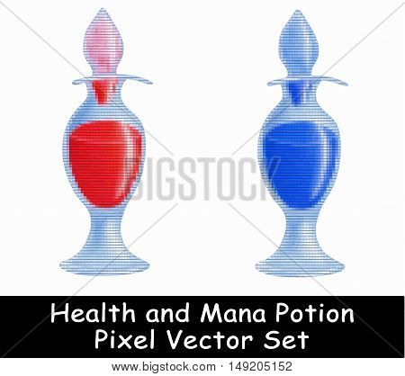 Health and Mana potion vector illustration pixel game set