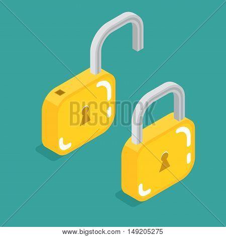 lock icon isometric. Stock vector. Vector illustration.