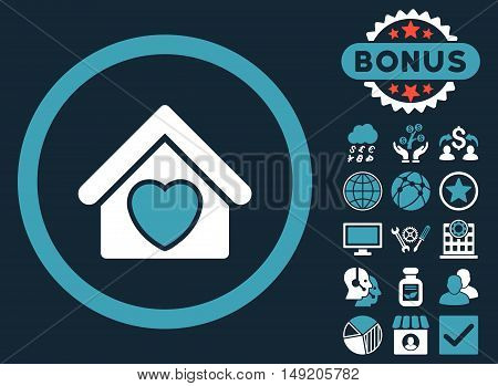 Hospice icon with bonus images. Vector illustration style is flat iconic bicolor symbols blue and white colors dark blue background.