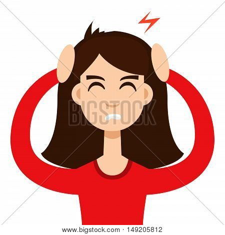 Headache girl. High blood pressure concept vector