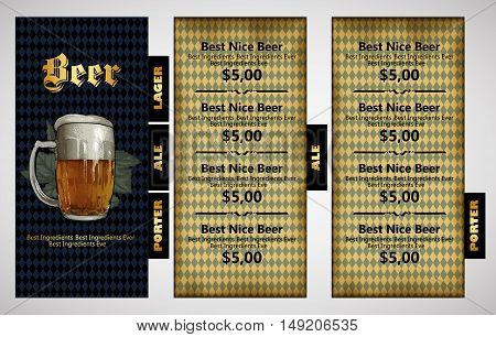design template menu beer restaurant with bavarian background