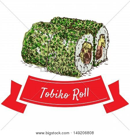 Tobiko roll colorful illustration. Vector colorful illustration.