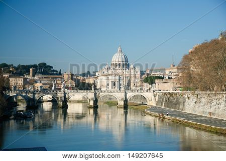 Rome Cityscape And Vatican Cupola From Tiber River