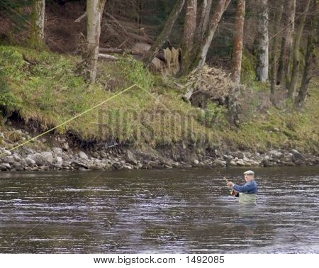 Fisherman On The River Tay In Scotland