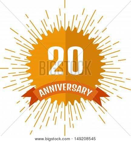 Anniversary sign 20. Stock vector. Vector illustration.