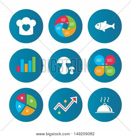 Business pie chart. Growth curve. Presentation buttons. Chief hat with heart and cooking pan icons. Fish and boletus mushrooms signs. Hot food platter serving symbol. Data analysis. Vector