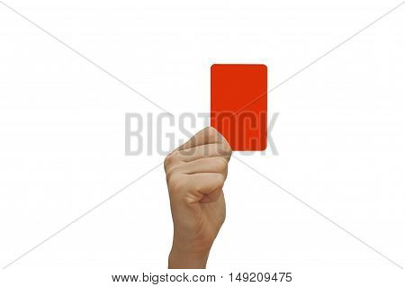 Hand holding a red card isolated on white background.
