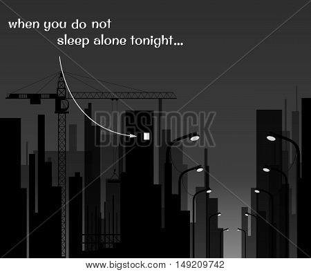 white and black image of the city at night, the light in the window. insomnia