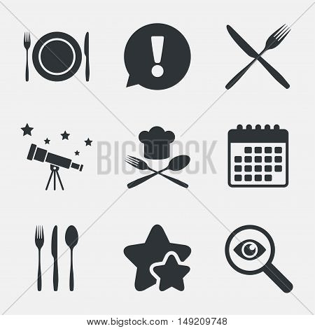 Plate dish with forks and knifes icons. Chief hat sign. Crosswise cutlery symbol. Dining etiquette. Attention, investigate and stars icons. Telescope and calendar signs. Vector