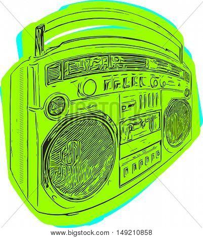 retro ghetto blaster drawing