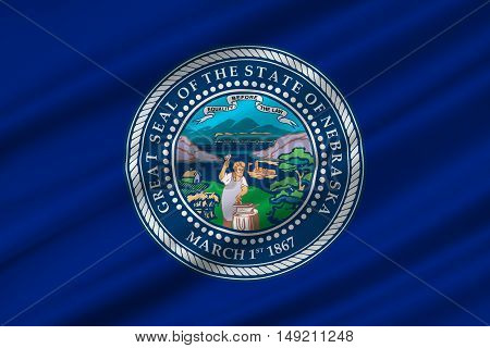 Flag of Nebraska is a state of United States. 3D illustration
