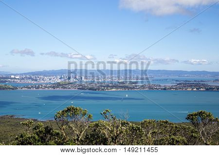 Auckland, New Zealand - April 19, 2015: City skyline as seen from volcano Rangitoto