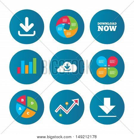 Business pie chart. Growth curve. Presentation buttons. Download now icon. Upload from cloud symbols. Receive data from a remote storage signs. Data analysis. Vector