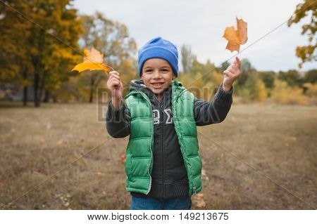 Closeup Of Young Boy Playing With Autumnal Leaves