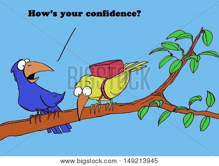 Color illustration of a bird wearing a parachute, the other bird asks 'how's your confidence?'.