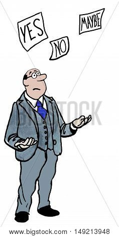 Business color illustration of a businessman looking at three options: 'yes', 'no', 'maybe'.