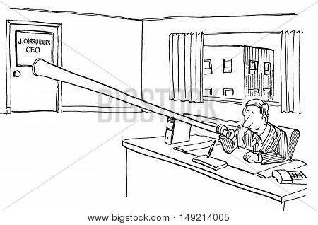 Business b&w illustration of a businessman trying to get the CEO's attention by blowing a loud horn.