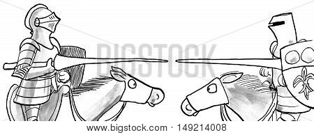 B&W illustration of two knights jousting on horses.