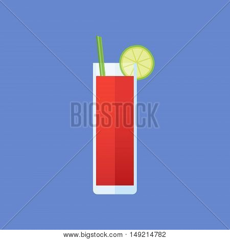 Glass of bloody mary cocktail with celery and lime slice isolated on blue background. Flat style icon. Vector illustration.