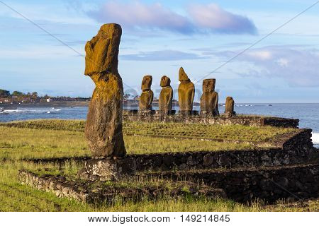 The moais at Ahu Tahai on Easter Island in Chile