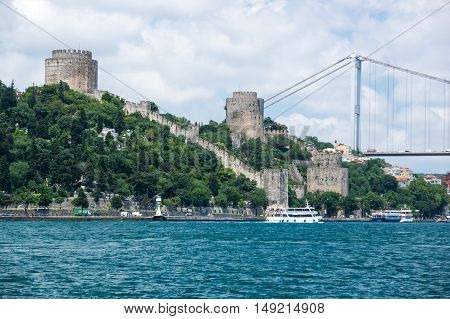 Rumelihisari (also known as Rumelian Castle and Roumeli Hissar Castle) is a fortress located in Istanbul Turkey on a hill at the European side of the Bosphorus
