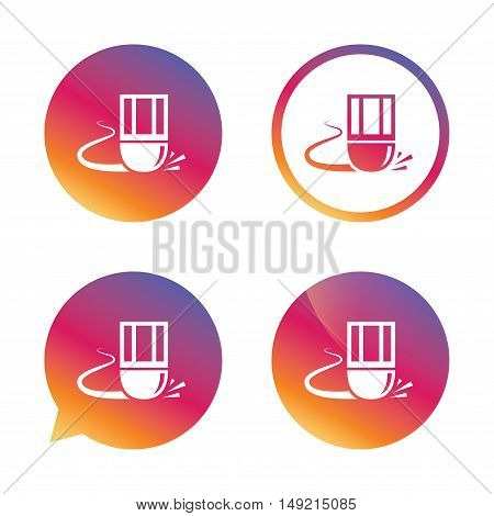 Eraser icon. Erase pencil line symbol. Correct or Edit drawing sign. Gradient buttons with flat icon. Speech bubble sign. Vector
