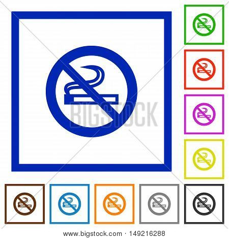 Set of color square framed no smoking flat icons