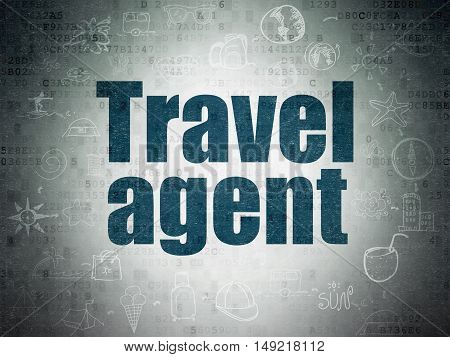 Travel concept: Painted blue text Travel Agent on Digital Data Paper background with  Scheme Of Hand Drawn Vacation Icons