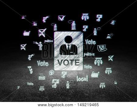 Political concept: Glowing Ballot icon in grunge dark room with Dirty Floor, black background with  Hand Drawn Politics Icons