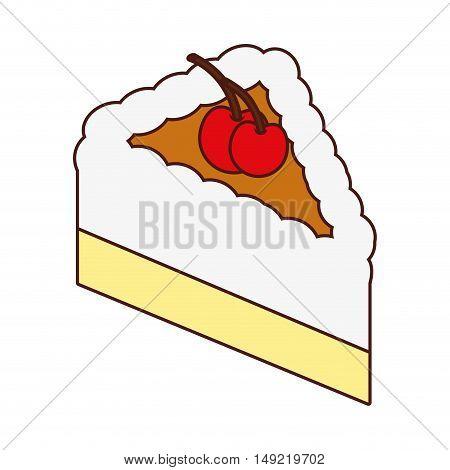 delicious sweet cake portion vector illustration design