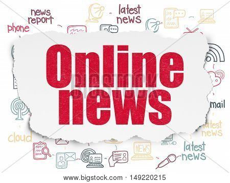 News concept: Painted red text Online News on Torn Paper background with Scheme Of Hand Drawn News Icons
