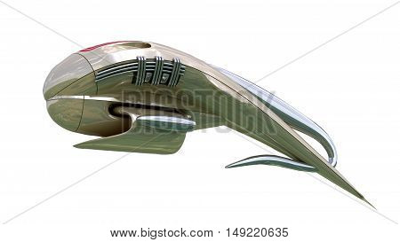 3D rendering of military drone or alien spacecraft for science fiction space travel or futuristic fantasy war games, with the clipping path included in the file.